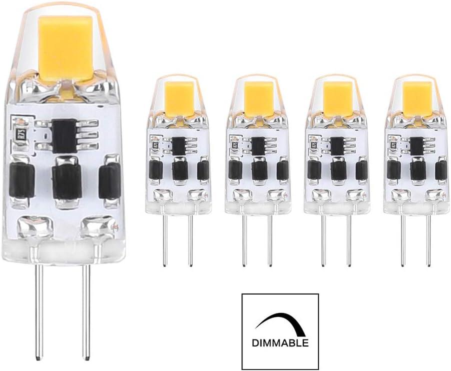 ELINKUME Regulable Bombillas G4 LED, Blanco Cálido, 2W reemplazar lámparas halógenas 15W, Sin parpadeo, 12-24V,90-150LM, Pack de 5 [Clase de eficiencia energética A+]