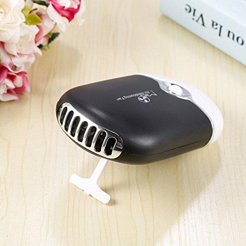 elecfan Mini Handheld Fan with Neckstrap, Cute USB Rechargeable Fan, Prevent Heat Stroke, Small Personal Fan, Portable Cooling Fan for Home, Office, Car - Black by elecfan (Image #3)