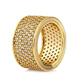 Mcsays Hip Hop Jewelry Iced Out Full Crystal Ring CZ Bling Gold/ Silver Plated Finger Rings for Men/Women Dope Gifts