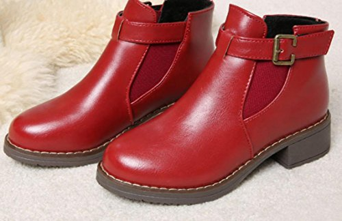 XDGG Women New Fashion Martin Boots Non-Slip Boots , red , 36