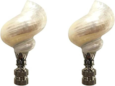 White Shell on Silver Plated Base Royal Designs Natural Seashell Lamp Finial
