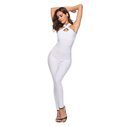 Creazy Womens One-Piece Sport Yoga Jumpsuit Running Fitness Workout Gym Tight Pants (Small, White)