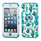 iPod touch 5th 6th Generation Cactus,White Plastic/Blue Silicone 3-Piece Style Hybrid Hard Case Cover for Apple- For Girls And Boys-Shockproof Dustproof with Stand (Cactus)