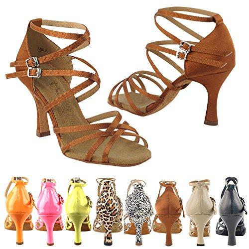 Satin Ballroom 5 Shades Comfort 3 High Pump Dance 2 Dress Evening Shoes 5008 Sandals Dark 5 50 3 Tan Heels amp; Women f4q14