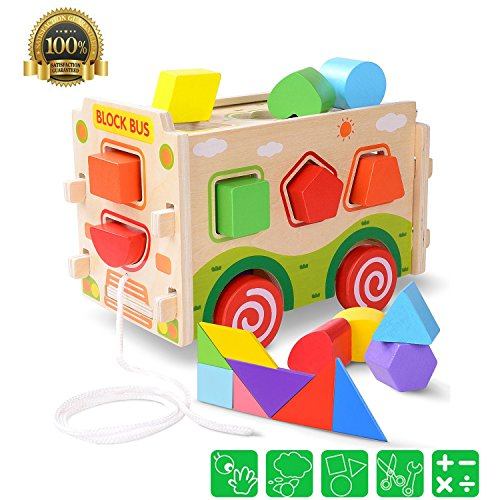 Plovetoy Wooden Shape Sorter Bus with Tangram Classic 3D Push Pull Truck Toy for Toddlers and Kids Color Recognition and Geometry Learning,3 Years and Up,(20 Blocks and Carry Case Included)