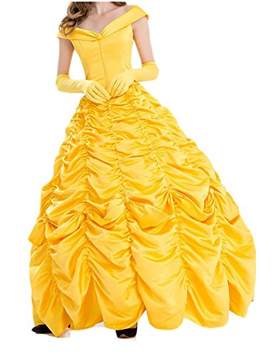 WANSHIYISHE Womens Belle Costume Adult Size Show Dress for Halloween Party three US (Belle Dress For Adults)