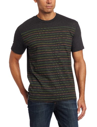 (Company 81 Men's Pinstripe Neon Tee, Charcoal Hthr, X-Large)