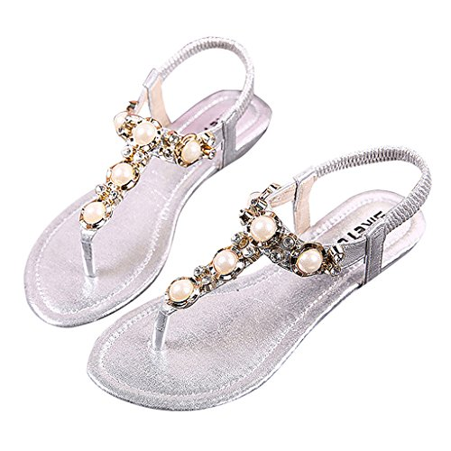 MRSMR - Sandalias de vestir de poliuretano para mujer plata