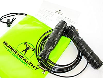 Speed Jump Rope - Perfect for Any Workout, Double Unders, Training, Boxing, Crossfit WOD's, 2.5mm Rubber Coated Steel Cable and Contoured Rubber Handles from Super Healthy Fit Co.