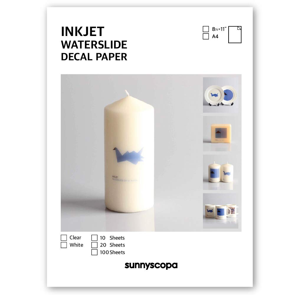 Sunnyscopa Inkjet Waterslide Decal Paper (8.5''x11'', White, 100 sheets)