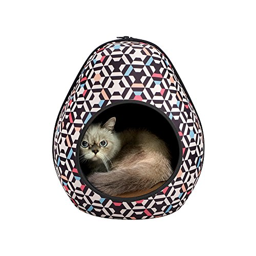 Capri Pet Bed - IBIYAYA Cat Cave Pod for Indoor Cats also ideal for Ferret and Puppy Bed (Honeycomb)