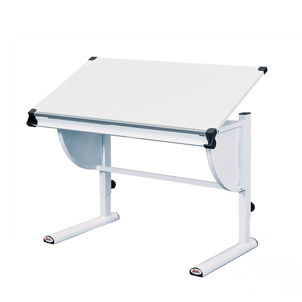 Pharao24 Schulanfänger Schreibtisch in Weiß neigbar und höhenverstellbar