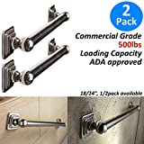 AmeriLuck Commercial Grade 24in x 1.25in Decorative Bath Grab Bar Quad Premium Polished Stainless Steel Chrome (2 Pack, 24in)