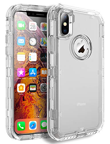 iPhone Xs Max Heavy Duty Case - by MXX - 3 in 1 Layers Rugged Rubber Shockproof Protection Cases Cover and Support Wireless Charging - (Clear HD)