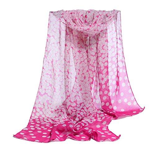 Voile Dot (Chiffon Scarf,Han Shi Fashion Women Dot Print Shawl Casual Soft Long Wrap Blanket Towel (Hot Pink, L))