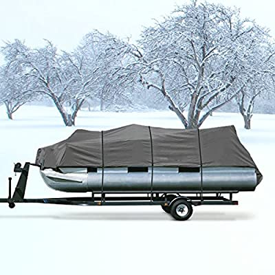 """Neh® Heavy Duty Waterproof Gray Pontoon Cover Fits Length 20' 21' 22' 23' 24' ' - Beam Width 102"""" Superior Trailerable Pontoon Covers 600 Denier Inboard Outboard Pontoon Covers"""