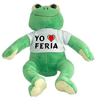 Rana de peluche con Amo Feria en la camiseta (ciudad / asentamiento)