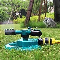 Aspersor de riego para Jardines de jardín Boquilla trigeminal Ajustable Aspersor Giratorio de 360 Grados para regar Plantas de césped Flores - Verde: Amazon.es: Jardín
