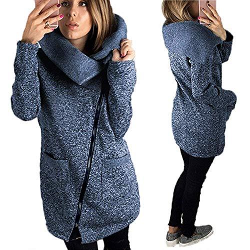 Giacca Invernali Moda Manica Cerniera Lunga Tasche Grazioso Con Calda Casual Giaccone Outerwear Cappotto Collo Alto Anteriori Dunkelgrau Donna 3AjLR5q4