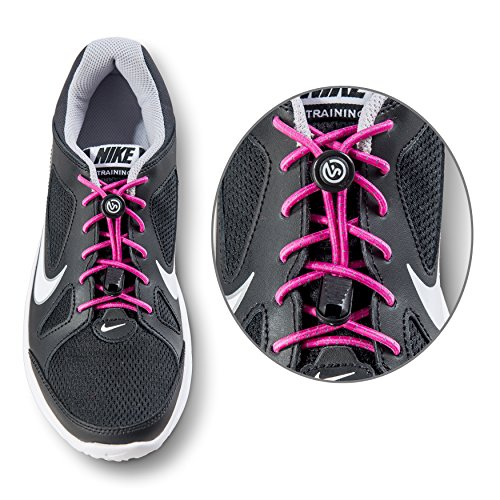 No Tie Shoelaces - Elastic and Reflective Laces with Lock for Athletes, Adults and Kids - Replacement Shoe Strings for Running, Tennis and Golf (Pink)