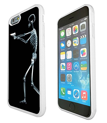 1112 - Cool Fun Zombies Death Skeleton Zombie X-Ray Gun Funny Bones Design iphone 6 Plus / iphone 6S Plus 5.5'' Fashion Trend Protecteur Coque Gel Rubber Silicone protection Case Coque - Blanc