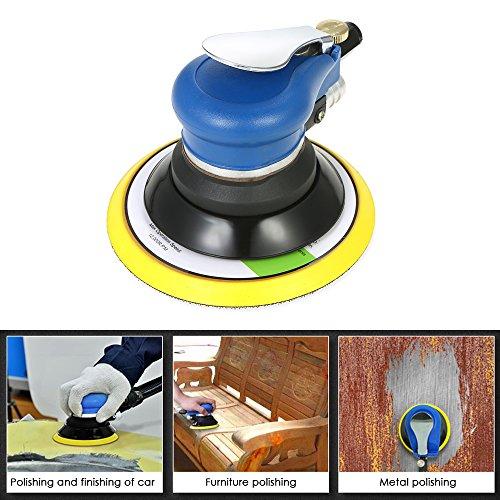 KKmoon Multifunction 6'' 10000RPM Pneumatic Palm Random Orbital Sander Polisher Air Powered Orbit Polisher Dual Action Polishing Grinding Sanding Waxing Tools with Vacuuming Bag by KKmoon (Image #6)