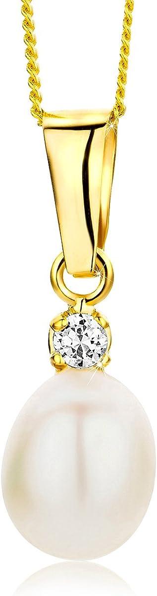 Orovi Collar de Mujer Perlas Blancas 7.5 de aguadulce Circonita Talla Brillante en Oro Amarillo 9 kilates Ley 375 Cadena 45 cm