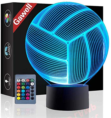 Christmas Gift Volleyball 3D Illusion Birthday Present Lamp, Gawell 16 Color Changing Touch Switch Table Desk Decoration Night Light with Remote Control for Sports Theme