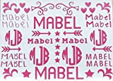 School Name Labels - Monogram Decal - Cheer Sports Bag Labels - School Organization - Six Designs - Boys Girls - Flowers