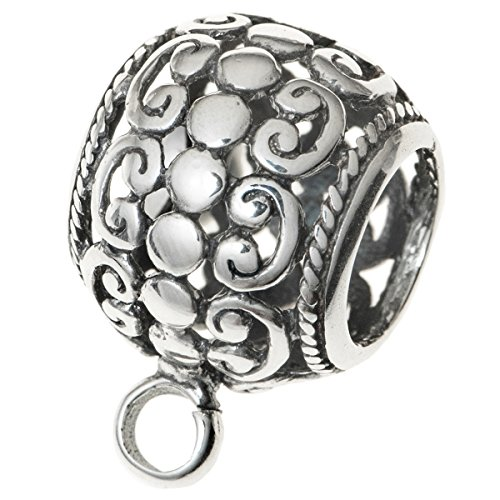 1pc .925 Sterling Silver Filigree Flower Bail Clasp Pendant ()