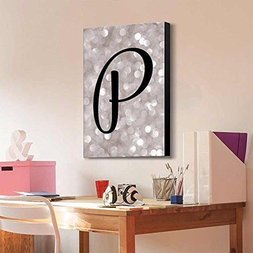 The Letter P in Brush Stroke Cursive on a Champagne Colored Bokeh Background Romantic Elegant Decor