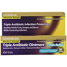 GoodSense Maximum Strength Triple Antibiotic Ointment plus Pain Relief, 1 Ounce