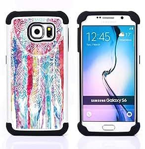 /Skull Market/ - Dream Catcher DreamCatcher For Samsung Galaxy S6 G9200 - 3in1 h????brido prueba de choques de impacto resistente goma Combo pesada cubierta de la caja protec -