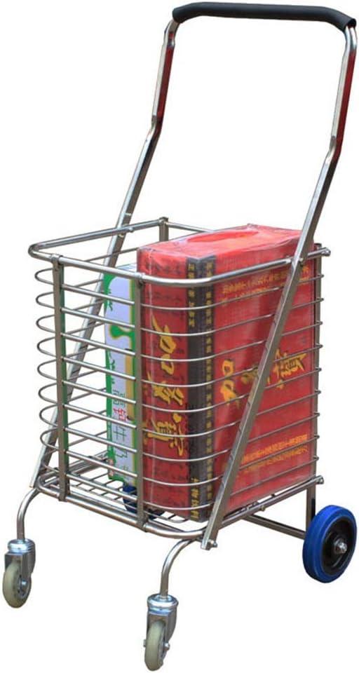 軽いショッピングトロリー 360°ローリング回転ホイール付きポータブル軽量で実用的なフラット折りたたみショッピングカート 再利用可能な広々とした多目的ショッピングトロリー (色 : AS PICTURE, サイズ : FREE SIZE)