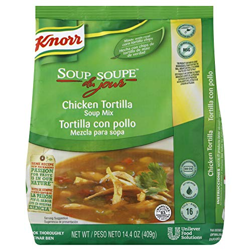 - Knorr Professional Soup du Jour Chicken Tortilla Soup Mix No added MSG, 0g Trans Fat per Serving, Just Add Water, 14.4 oz, Pack of 4