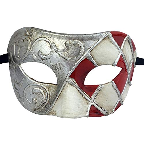 Xvevina Venetian Party Mask Men Mask Masquerade Ball Halloween (Luxury Red Silver)]()