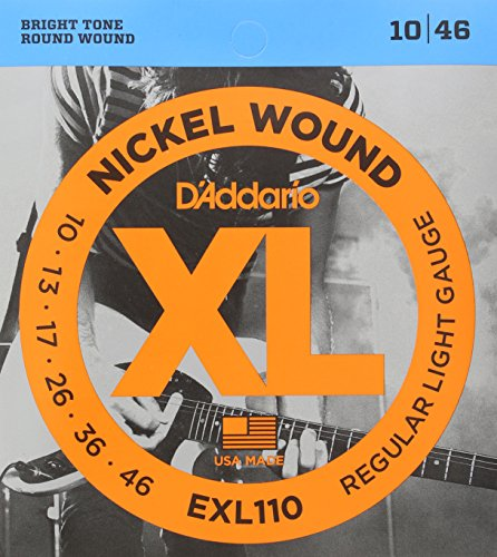 D'Addario Electric Guitar Strings Regular Light Gauge Round Wound with Nickel-Plated Steel for Long Lasting Distinctive Bright Tone and Excellent Intonation (EXL110)