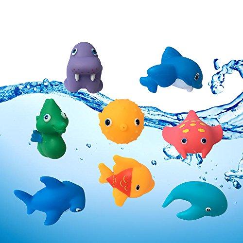 (JollySweets Squirts Ocean Bath Toys Hape Waterworks Bath Toy Colorful Elegant Baby Bath Time Fun Rubber Water Squirties, Ocean Party )