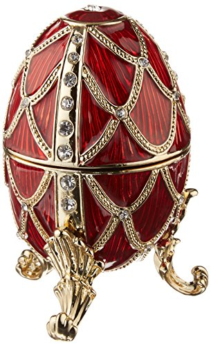 (Design Toscano Golden Trellis: Rouge Romanov Style Collectible Enameled Egg, 4 Inch, Pewter, Red and Gold)