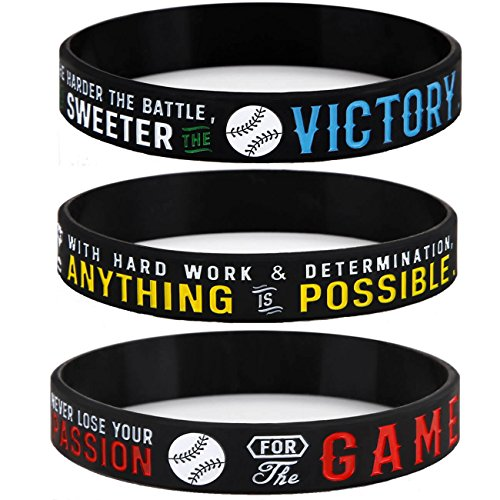 Sainstone Power of Faith Baseball Silicone Wristbands with Motivational Sayings for Boys - Inspirational Motto - Baseball Rubber Bracelets Sports Holiday Jewelry Gifts (Unisex) ()