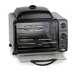 Elite Cuisine ERO-2008SC Maxi-Matic 6-Slice Toaster Oven with Rotisserie and Grill/Griddle Top and Convection, Black