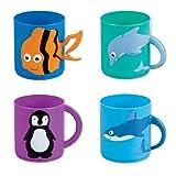 Assorted Sea Life Animal Molded Plastic Mugs (12) 3''. Plastic. In Retail Display Box.