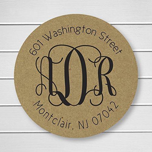 Monogram Return Address Initial Kraft Wedding Envelope Seals/Stickers/Labels (#212-KR)