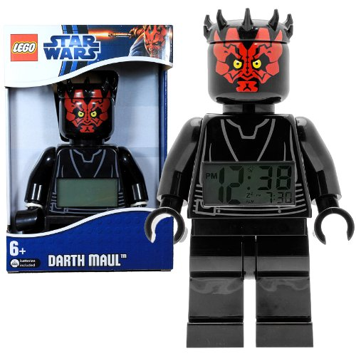 Lego Year 2012 Star Wars Movie Series 8 Inch Tall Figure Alarm Clock Set# 9005596 - DARTH MAUL with Moving Arms and Legs Plus Backlight Display (Darth Maul Lego Figure)