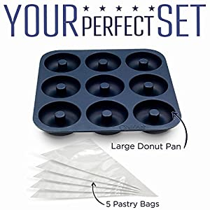 Elite Donut Pan Kit by Chefast - Large Non-Stick Silicone Doughnut Pan with 5 Pastry Bags - Oven, Freezer, and Dishwasher-Safe Baking Mold for 9 Full-Size Donuts, Bagels and More