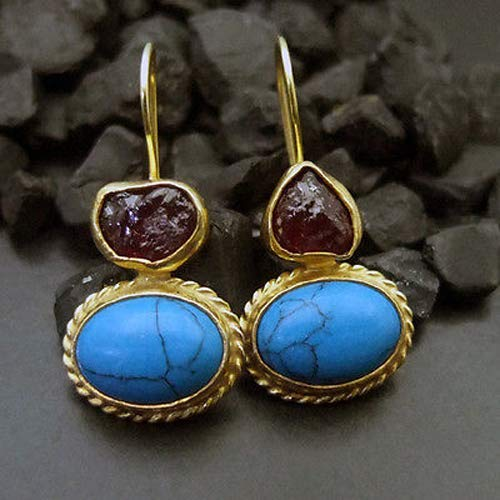Ancient Design Jewelry Handmade Designer Rough Ruby & Turquoise Earring 22K Gold over Sterling Silver ()