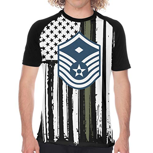 Air Force Master Sergeant 1st SGT Diamond Rank Men's Baseball T Shirts Short Sleeve Raglan T Shirts Tee Tops XL Funny Novelty Black
