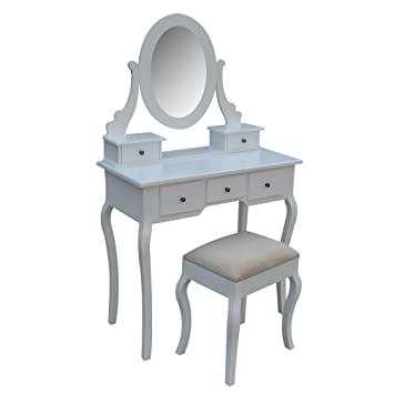 Homegear Parisian Dressing Table, Mirror U0026 Stool Set/5 Drawer Vanity Makeup  Desk