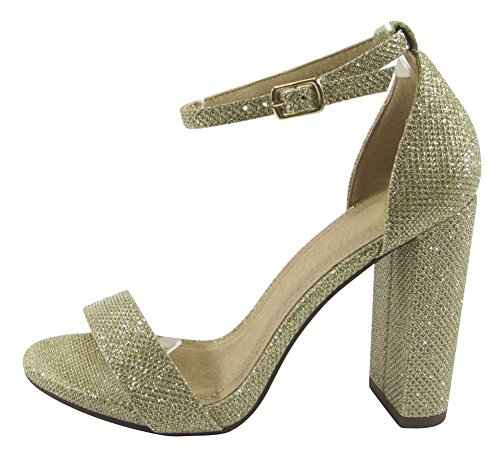 Cambridge Select Women's Open Toe Single Band Buckled Ankle Strap Chunky Wrapped Block High Heel Sandal,8 B(M) US,Light Gold Shimmer (Chunky Band)