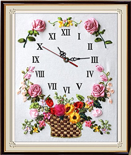 Aureate Handmade Silk Ribbon Embroidery Kits Canvas 3D Wall Art Home Decoration DIY Needlepoint Tapestry Hanging Gift Rose Basket Clock 24